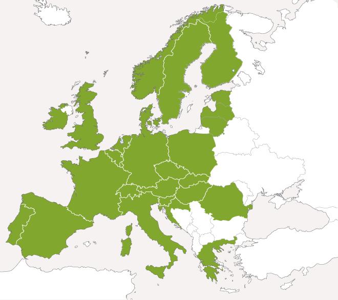 Mapa krajów europejskich